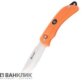 Нож Ganzo G802-OR с двойным лезвием оранжевый в деревянной коробке