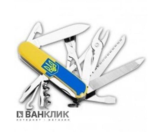Нож Victorinox Handyman желтый с логотипом Ствол и флагом Украины в подарочной коробке 1.3773.8R2