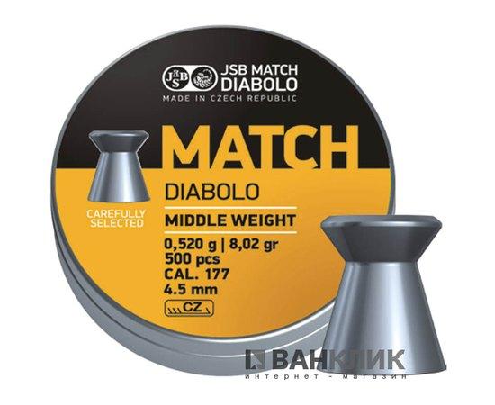 Пульки JSB Match Diabolo middle 4.52 мм, 0.52 г 500 шт (000020-500)